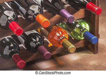 garrafas, empilhado, prateleira, vinho