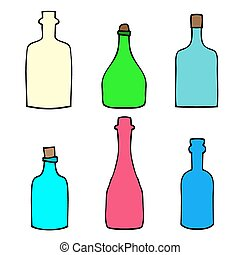 garrafas, esboço, vetorial, jogo