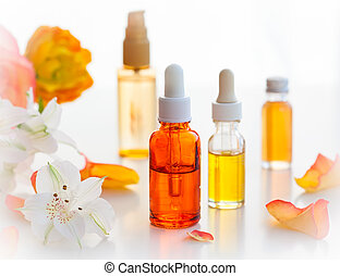 garrafas, essencial, óleos aromáticos
