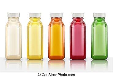 garrafas, experiência., isolado, ilustração, plástico, suco, vetorial, branca