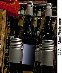 garrafas, exposição, loja, vinho