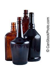 garrafas, isolado, experiência., tiro estúdio, branca