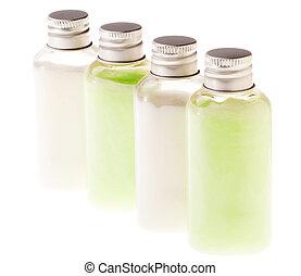garrafas, &, isolado, loção, verde branco
