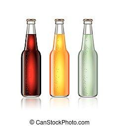 garrafas, isolado, vidro, vetorial, soda, branca