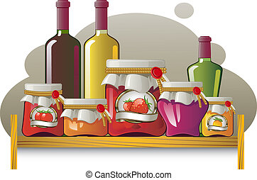 garrafas, latas, prateleiras