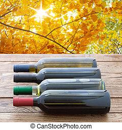 garrafas, natureza, madeira, experiência., empilhado, tabela., vinho tinto