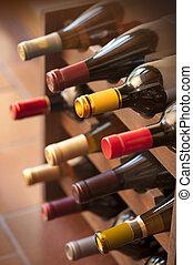 garrafas, prateleira, vinho