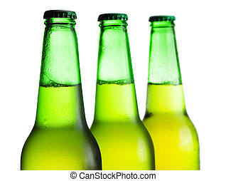 garrafas, sobre, isolado, cerveja, verde branco