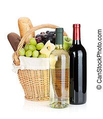 garrafas, uva, pão, cesta, piquenique, queijo, vinho