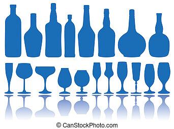 garrafas, vetorial, óculos