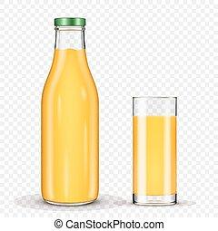 garrafas, vidro, isolado, suco, fundo, laranja, transparente