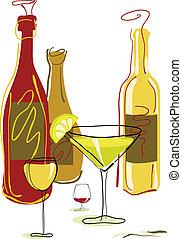 garrafas, vidro vinho