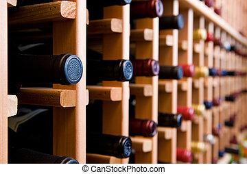 garrafas vinho, empilhado, em, adega
