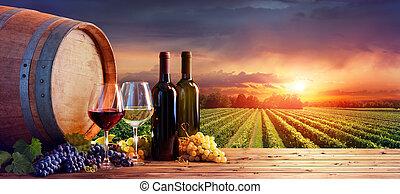 garrafas, wineglasses, cena, uvas, rural, barril