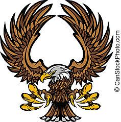 garras, asas, mascote, águia