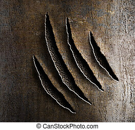 garras, metal, oxidado, daño