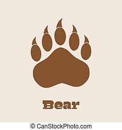 garras, urso, pata, marrom