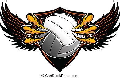 garras, vector, voleibol, garras, águila, ilustración