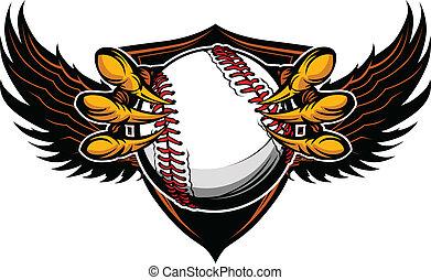 garras, vetorial, basebol, talons, águia, ilustração