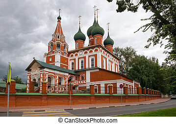 Garrison Church of the Archangel Michael on a cloudy August day. Yaroslavl, Golden Ring of Russia