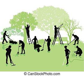 Garten mit Gartenarbeiten.eps - Gardening, garden with...