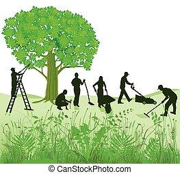 Gartenarbeit auf Wiese - common garden maintenance