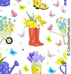 Gartenarbeit, equ, seamless, Beschaffenheit, Sträuße,...