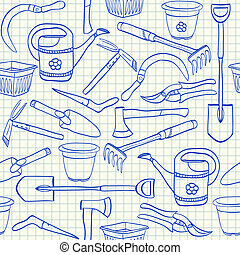 gartenarbeit, muster, kariert, seamless, abbildung, papier, doodles, werkzeuge