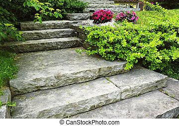 gartengestaltung, stein, treppe
