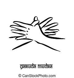 Garuda mudra . Hand spirituality hindu yoga of fingers gesture. Technique of meditation for mental health. Vector illustration