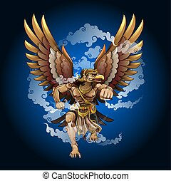 Vector illustration, modification of Garuda puppet characters in the Ramayana story.