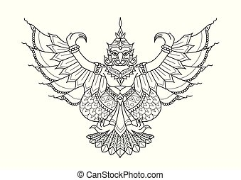 Garuda the half human half bird, animal in Thai literature for design element, printed tee and coloring book page. Vector illustration