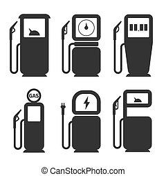Gas and fuel pump vector icons set