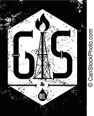 Gas and Oil. Black-white retro typo