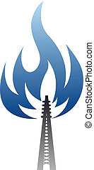 Gas and oil industry symbol - pipe with blue glow flame
