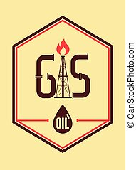 Gas and Oil. Retro typographical in