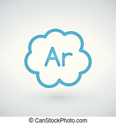 Gas argon blue icon, vector illustration isolated on white background.