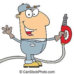 Gas Attendant Man  - Caucasian Cartoon Gas Attendant Man