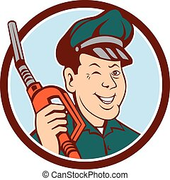 Gas Attendant Nozzle Winking Circle Cartoon - Illustration...