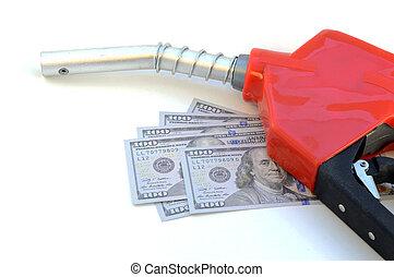 gas, bekostnad, pumpar