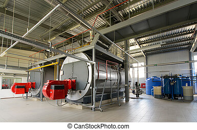 Zimmer, gas, dampfkessel, produktion, boiler, dampf Stockfotografie ...