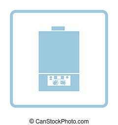 Gas boiler icon. Blue frame design. Vector illustration.