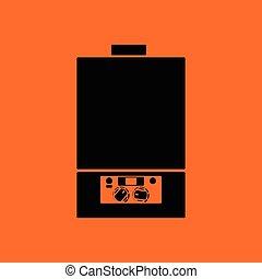 Gas boiler icon. Orange background with black. Vector illustration.