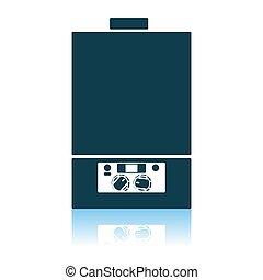 Gas Boiler Icon. Shadow Reflection Design. Vector Illustration.