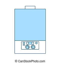 Gas Boiler Icon. Thin Line With Blue Fill Design. Vector Illustration.