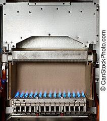 Gas boiler - Gas flame inside of the gas boiler