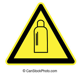 gas, bottiglie, triangolo avvertimento, giallo