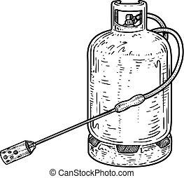 Gas bottle burner to pig slaughter illustration, drawing, engraving, ink, line art, vector