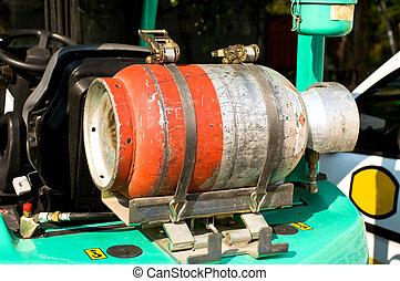 Gas bottle on a forklift truck