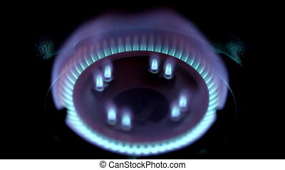 gas burner - Blue flames of gas stove in the dark